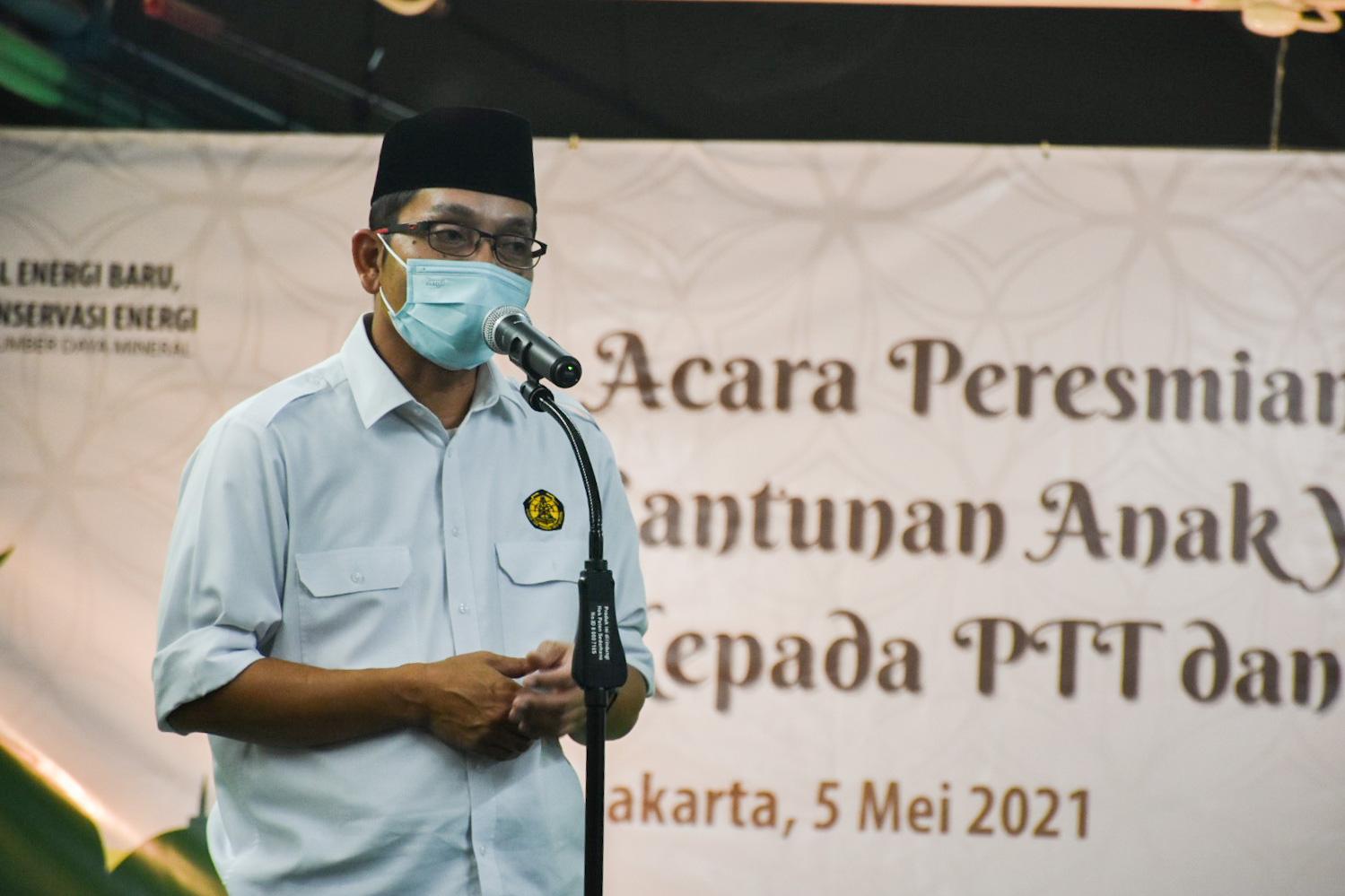 Dirjen EBTKE, Dadan Kusdiana memberikan sambutan pada acara Peresmian Masjid At Taawwab di Lingkungan Ditjen EBTKE, Jakarta (05/05/2021) (NS)