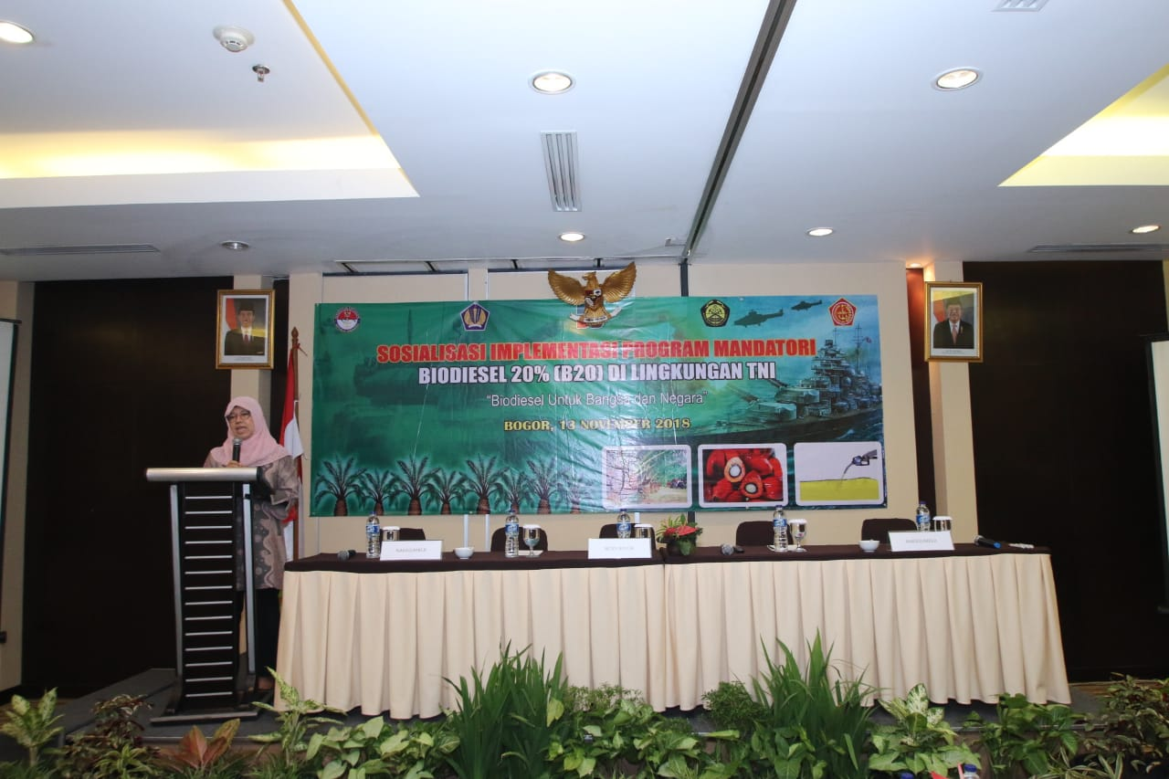 Sambutan Direktur Bioenergi, Andriah Feby Misna pada acara Sosialisasi Implementasi Program Mandatori B20 di Lingkungan TNI