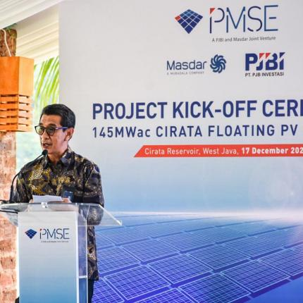 Direktur Mega Proyek PT. PLN Persero, Muhammad Ikhsan Asaad memberikan sambutan pada acara Projeck Kick-Off Ceremony 145 MWac Cirata Floating PV Project di kawasan Waduk Cirata, Purwakarta (17/12/2020