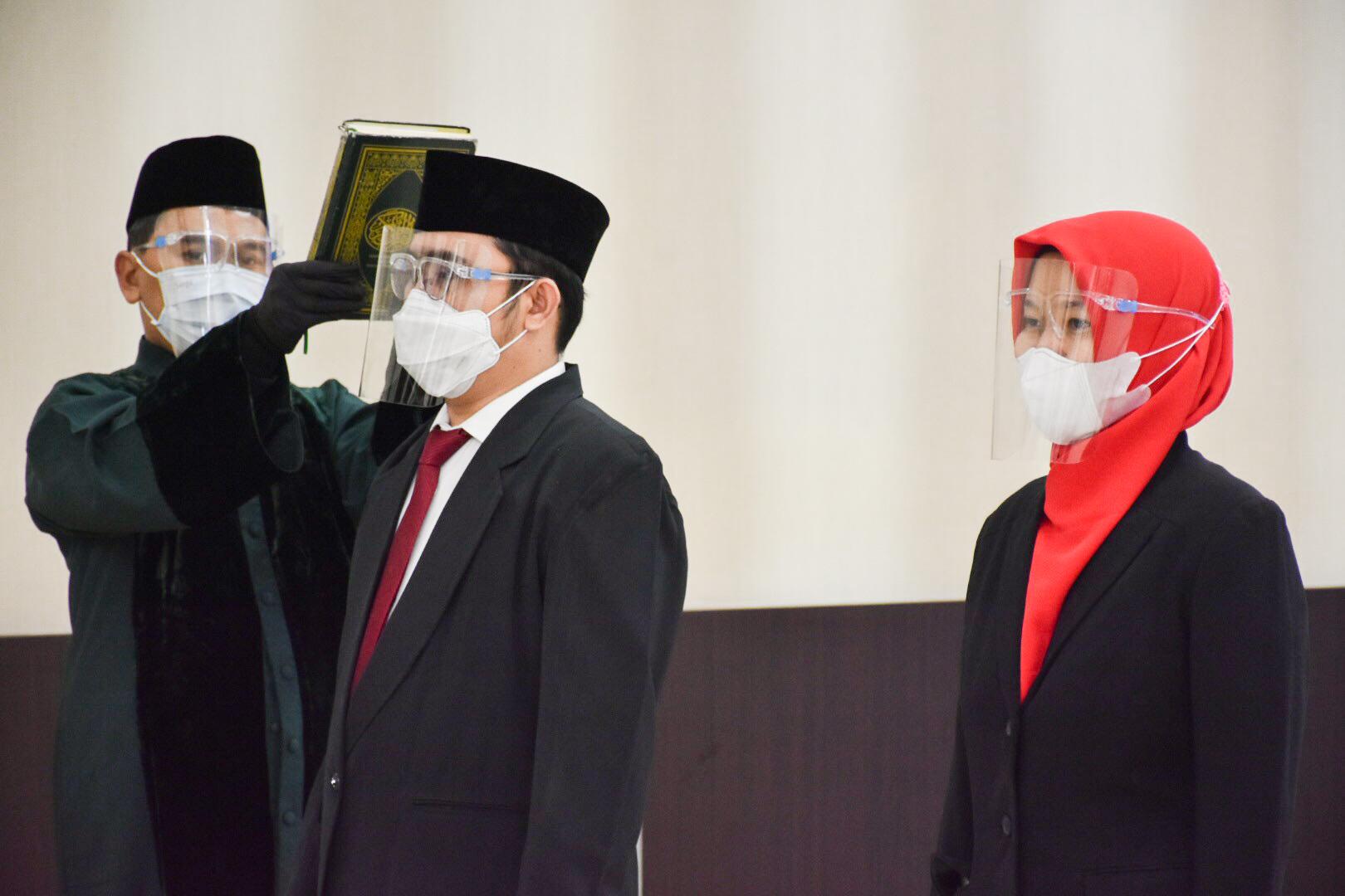 Pengambilan sumpah jabatan bagi Pegawai Negeri Sipil yang naik pangkat periode 1 April 2021 di Gedung Slamet Bratanata, Jakarta (05/04/2021) (NS)