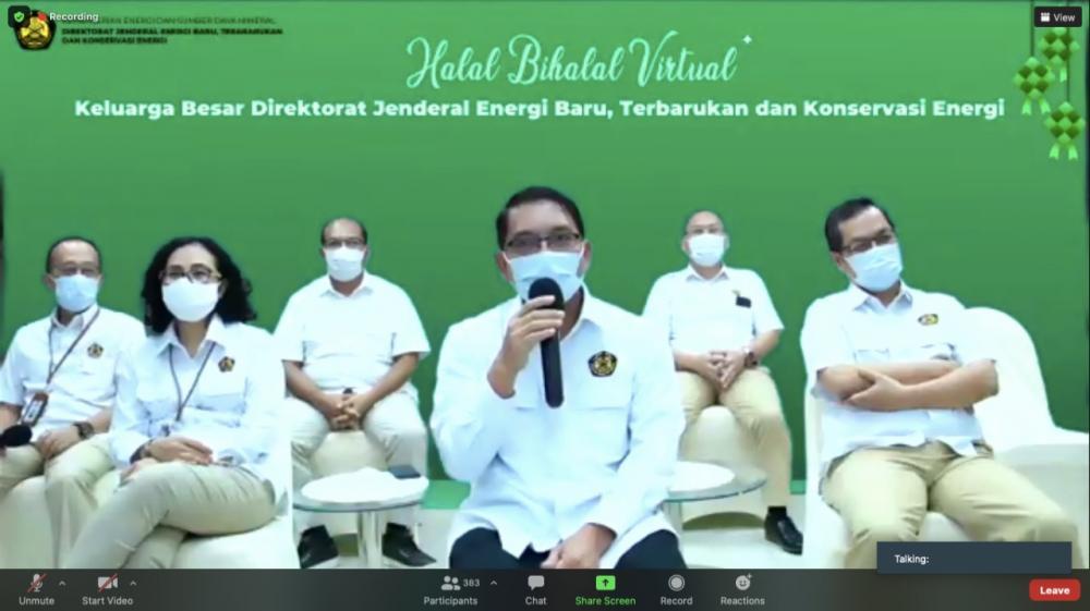 Sebagai ajang silahturahmi di masa Idul Fitri dan bulan Syawal, Ditjen EBTKE melaksanakan Halalbihalal Virtual yang diikuti seluruh keluarga besar Ditjen EBTKE di Jakarta, (17/05/2021) (LA)