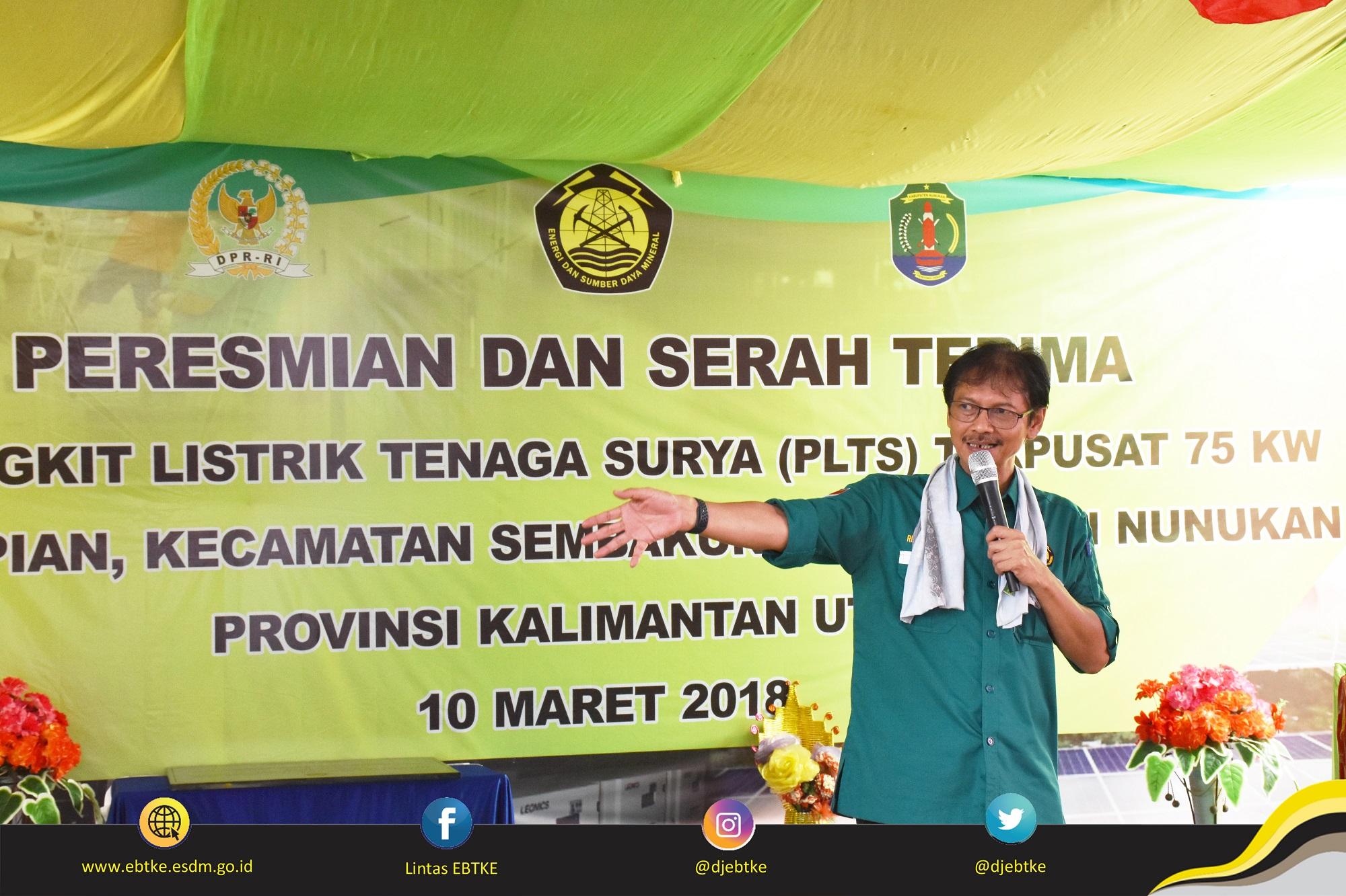 Sambutan Direktur Jenderal EBTKE, Rida Mulyana dalam acara Peresmian PLTS Terpusat di Kabupaten Nunukan