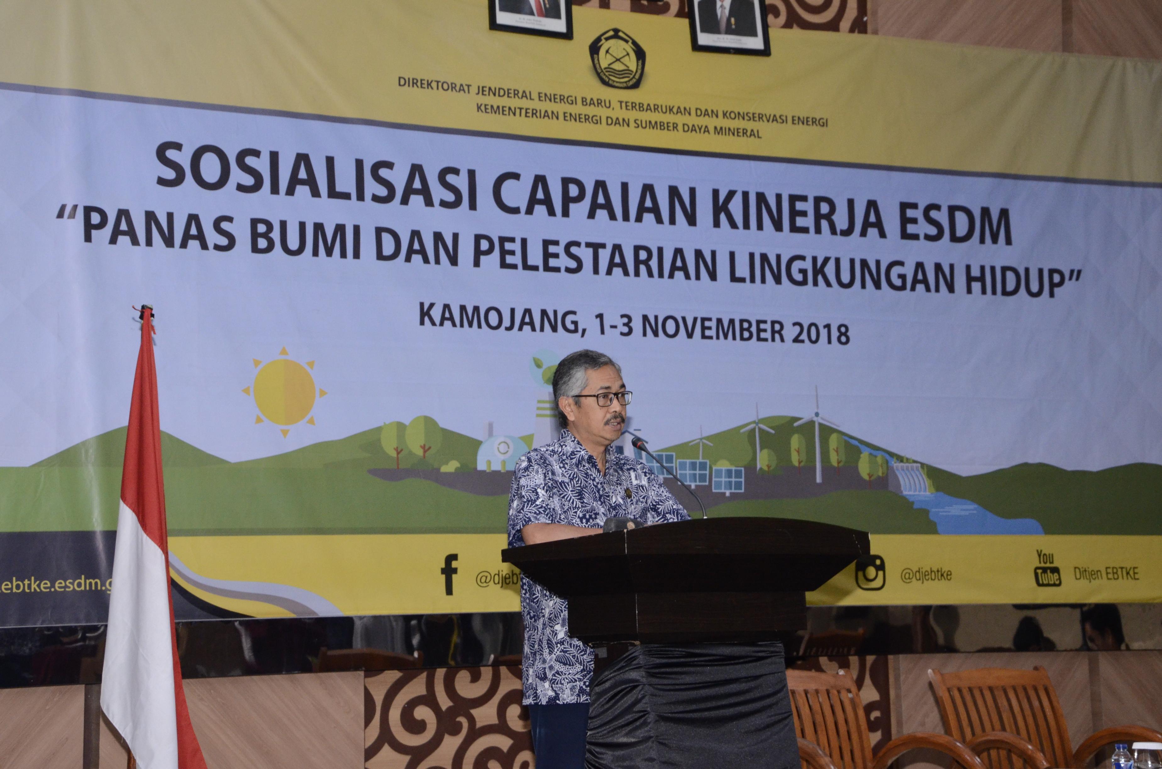 Sambutan Sesditjen EBTKE, Wawan Supriatna pada acara Sosialisasi Capaian Kinerja Sektor ESDM dengan topik khusus Panas Bumi dan Pelestarian Lingkungan Hidup