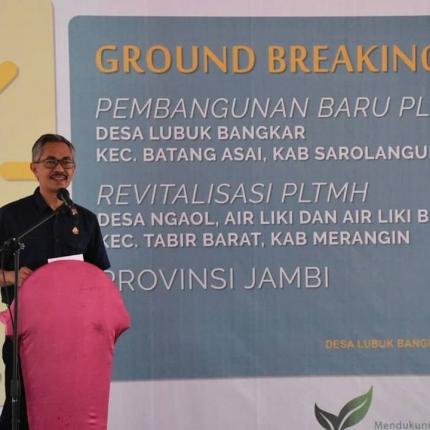 Sambutan Sekretaris Direktur Jenderal EBTKE, Wawan Supriatna pada acara Ground Breaking PLTMH di Desa Lubuk Bangkar