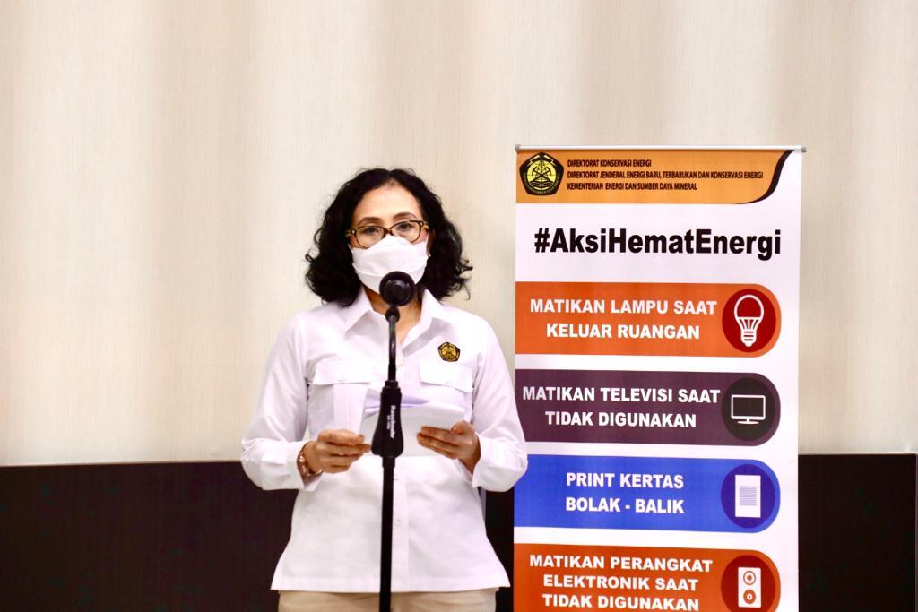 Direktur Konservasi Energi, L.N. Puspa Dewi membuka kegiatan Launching Lomba Hemat Energi Gedung Perkantoran di Kementerian ESDM, Jakarta (25/02/2021) (LA)