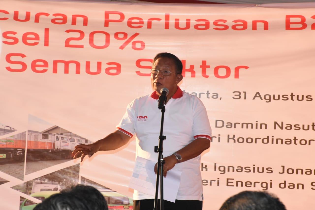 Sambutan Menteri Koordinator Perekonomian, Darmin Nasution pada Peluncuran Perluasan B20 Biodiesel 20% untuk semua Sektor