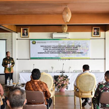 Direktur Panas Bumi, Harris memberikan sambutan pada kegiatan sosialisasi yang dilakukan di Sumedang, Jawa Barat (04/03/2021) (NS)