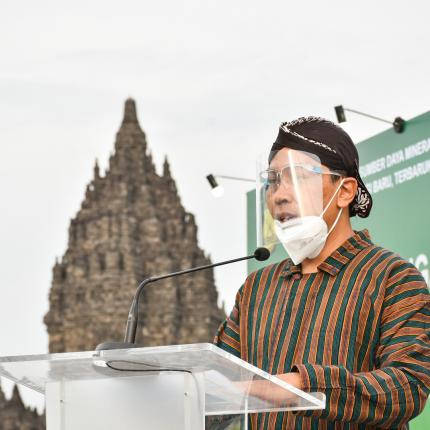 Sekretaris Ditjen EBTKE, Halim Sari Wardana memberikan sambutan pada pembukaan acara BAST di Rama Shinta Garden Resto, Yogyakarta. (09/10/2020)