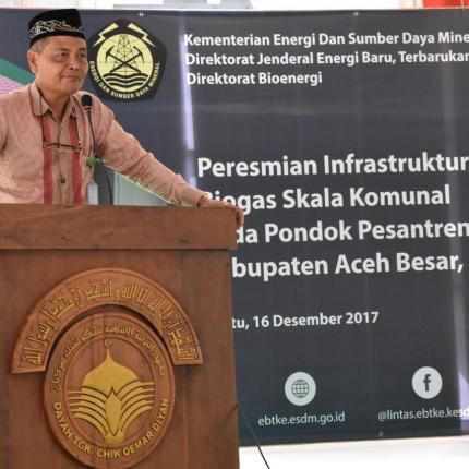Bekerja sama dengan Pemerintah Kabupaten Aceh Besar dan Pondok Pesantren Oemar Diyan, Ditjen EBTKE melaksanakan pembangunan infrastruktur energi terbarukan berbasis bioenergi biogas skala komunal