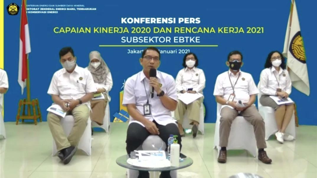 Direktur Jenderal EBTKE, Dadan Kusdiana menyampaikan pernyataan pers awal tahun, berisikan Capaian Kinerja Tahun 2020 dan Rencana Kerja Tahun 2021 Subsektor EBTKE di Cikini, Jakarta Pusat (14/01/2021)