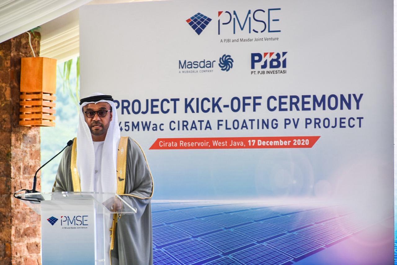 Duta Besar UEA untuk Indonesaia, Abdulla Salem Obaid Al Dhaheri memberikan sambutan pada acara Projeck Kick-Off Ceremony 145 MWac Cirata Floating PV Project di kawasan Waduk Cirata, Purwakarta (17/12/