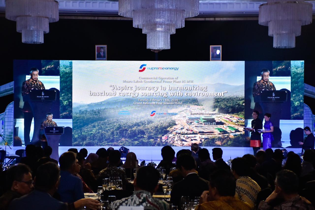 Dirjen EBTKE, F.X Sutijastoto memberikan sambutan pada acara celebration dinner PLTP Muara Laboh di hotel Four Seasons, Jakarta. (18/02/2020)