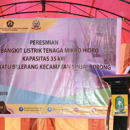 Sambutan Direktur Renbang Infrastruktur, Noor Arifien Muhammad dalam Peresmian PLTMH 35 kW di Kabupaten Sinjai, Sulawesi Selatan